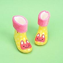 Waterproof Child Animal Rubber Infant Baby Rain Boots Kids Warm Rain Shoes- Yellow