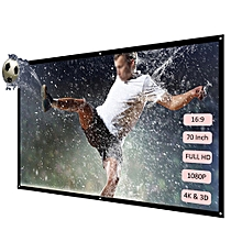 H70 70'' Portable Projector Screen HD 16:9 White Dacron 70 Inch Diagonal Projection Screen Foldable Home Theater for Wall Projection Indoors Outdoors