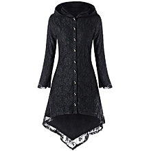 Hooded Lace Up High Low Coat-BLACK