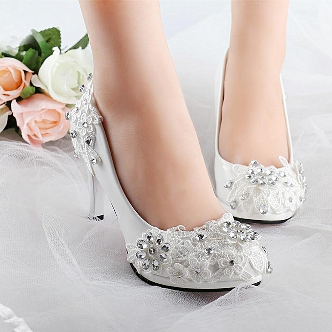 Fashion NEW Women White Floral Stilettos Rhinestone