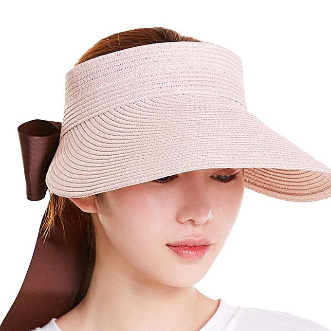 d45a7042044 sun hats for women foldable Casual sun hat wide brim Straw Floppy Bow Summer  Sun Beach