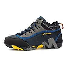 Winter Men Outdoor Hiking Mountain Climbing Shoes Anti-skid Leather Men Trekking Shoes Waterproof Sports Casual Shoes - Yellow