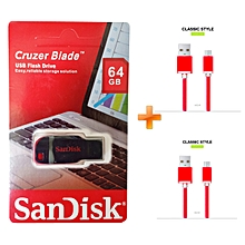 Cruzer Blade USB Flash Drive - USB 2.0 - 64GB - Black & Red,Get Two Free Android Cables