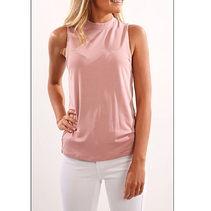 868a4637a60431 YOINS Women Casual Chiffon Sleeveless High Neck Open V-back Cami Top In  Pink S