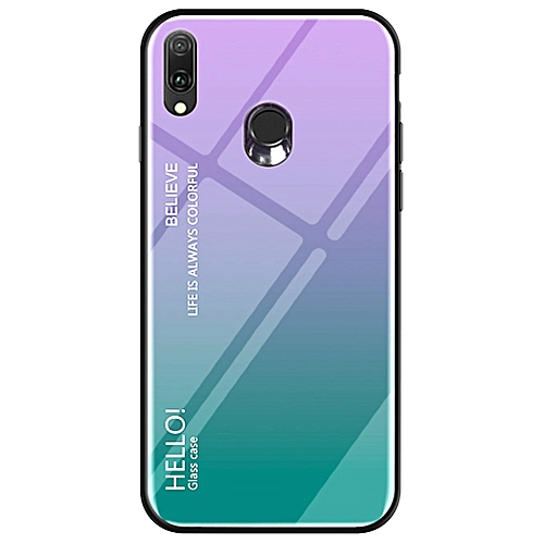 36e3d98b08 Generic Galaxy A20 Case,Fantastic Gradient Change Color Tempered Glass Case  Soft TPU Bumper Shock Absorption Protection Cover for Samsung Galaxy A20/ Galaxy ...
