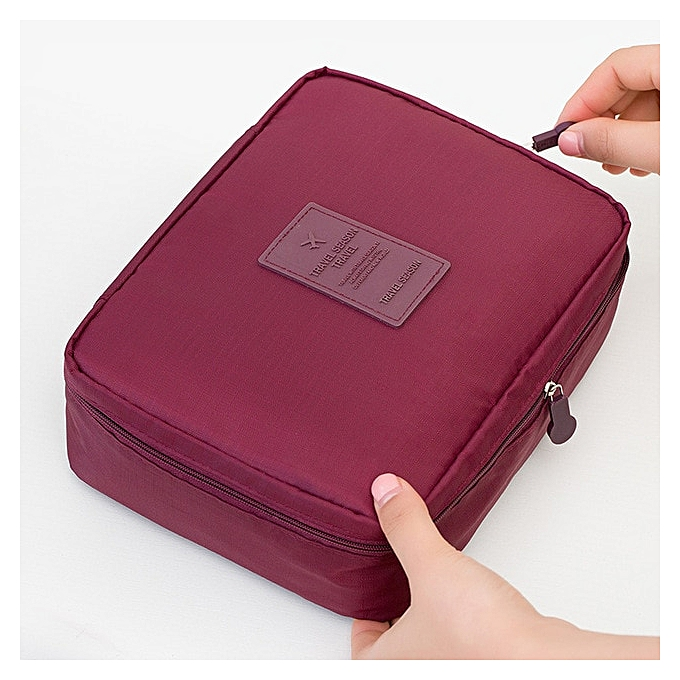 c26d5b66fbe4 Zipper Man Women Makeup bag nylon Cosmetic bag beauty Case Make Up  Organizer Toiletry bag kits Storage Travel Wash pouch(Red wine)