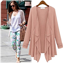 Autumn Casual Cardigan Women Long Cardigan Female Sweater Collarless Long Sleeve Asymmetrical Print Knit Cardigan-pink