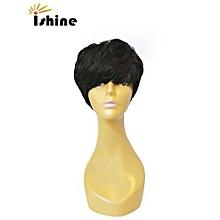 Natural Black Human Hair Machine Made Wigs