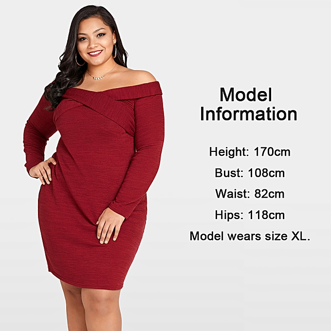 ... Sexy Women Plus Size Knitted Dress Off The Shoulder Cross Front Long  Sleeve Slim Bodycon Mini ... 58f2b014f