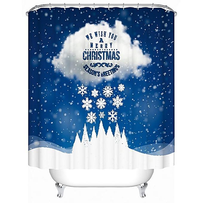 Custom Merry Christmas Fabric Waterproof Bathroom Shower Curtain 72x 72