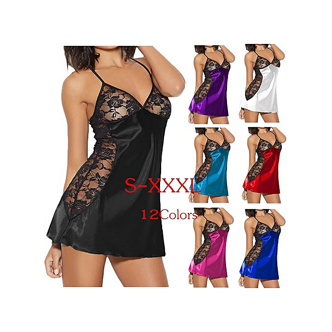 7afdcc50d Women Plus Size Sexy Pajamas Sexy Lingerie Rose Lace Silks Underwear  Nightdress