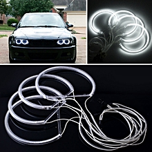 4X Angel Eye Halo Light CCFL Headlight For BMW E46 Series White Non-Projector^