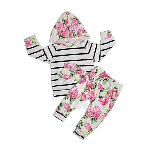 d918fa0ce67a Generic Comfortable Lovely Floral Baby Girls Long Sleeve T-shirt+Pants  Outfits 2PCS Kids Hooded Clothes Set