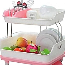 2 tier Dish Drainer Drying Rack Pink