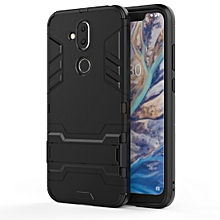 Shockproof PC + TPU Case for Nokia 8.1 / X7, with Holder(Black)
