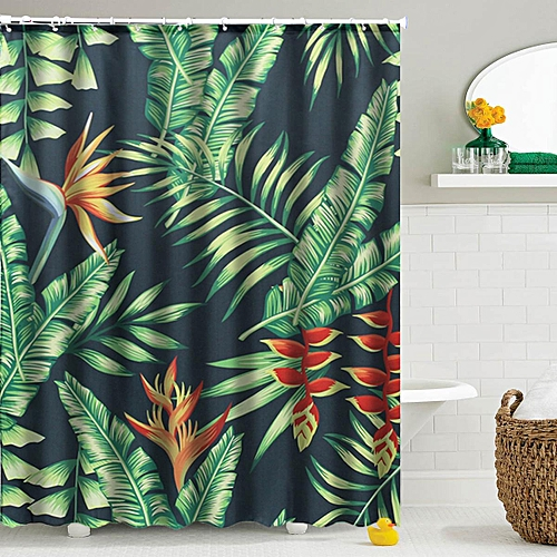 Textile Waterproof Bathroom Shower Curtain 12 Hook Mildew Splash Resistant