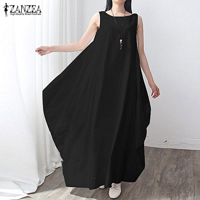 5c8ee7e0a70 ZANZEA Casual kaftan Linen Summer Dress Women Elegant Loose Sleeveless O  Neck Dress Cotton Long Maxi