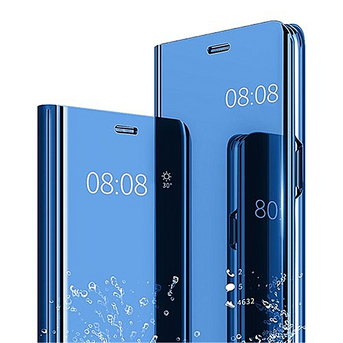 wholesale dealer 9c17d 629b1 Huawei Honor 8X Leather Case Flip Case Cover With Plating Mirror And Stand  Function - Blue