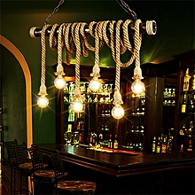 E27 Industrial Pendant Lamp Double Head Retro Vintage Edison Rope Ceiling Light