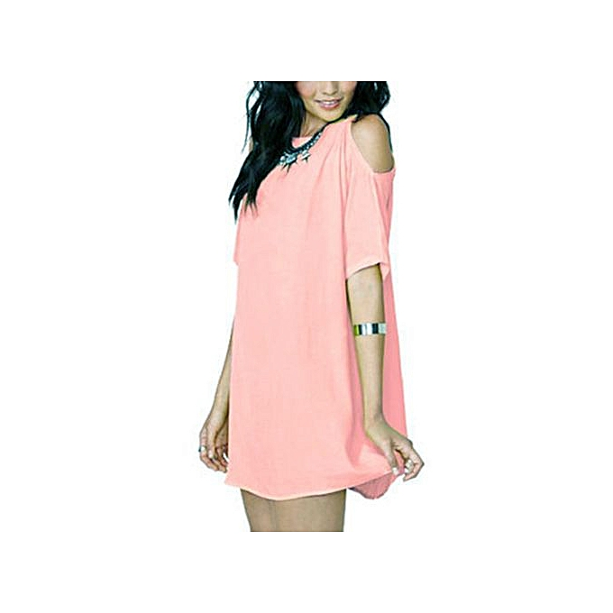 46481fd2eb6f Hiaojbk Store Women Summer Loose Solid Off-Shoulder Casual Sundress Mini  Dress-Pink ...