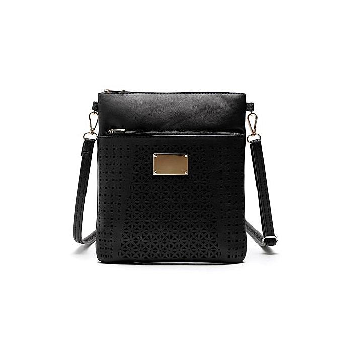 Xingbiaocao Women Crossbody Bag Hollow Out Shoulder Messenger Bags Flower  Handbags -Black