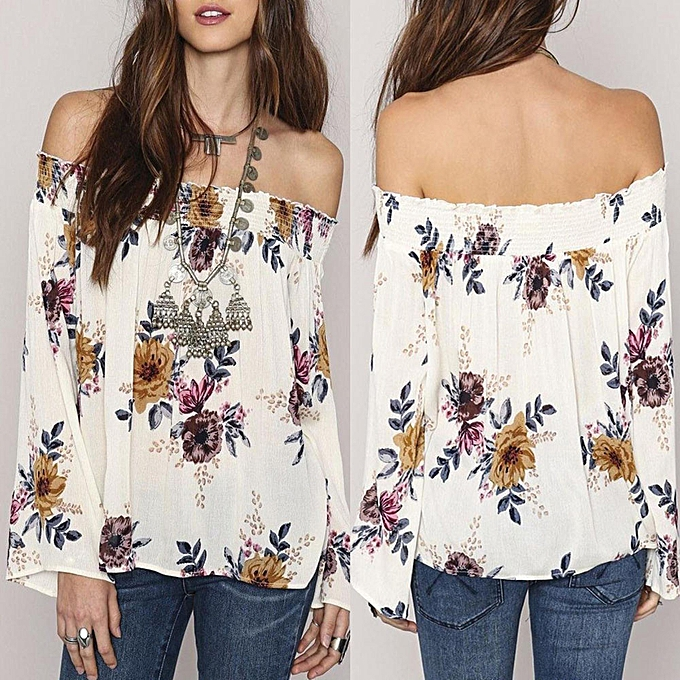 7323b776774d Check Fashion Womens Chiffon Floral Print Tops Off Shoulder Long Sleeve  Shirt Blouse