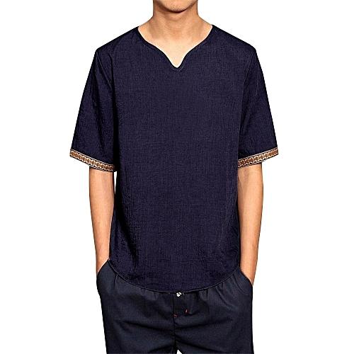 e01aba36a Generic Mens Traditional Linen Shirts Casual Short Sleeve V Neck Tops Loose  Blouse @ Best Price | Jumia Kenya