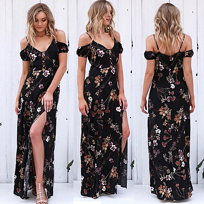 7b83dffcbdf Hiamok Women Summer Vintage Boho Long Maxi Evening Party Beach Dress Floral  Sundress L