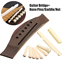 Rosewood Acoustic Guitar Part Bridge + Bone Pins + Saddle + Nut Set Wood