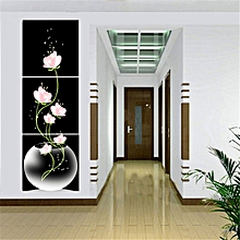 40x40cm Frameless 3 Art Painting Panels Beautiful Flowers Printed On Canvas For Entryway Black Background Home Decor Wall-Pink