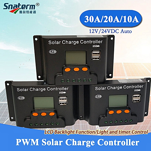 Backlight function 30A 20A 10A 12V/24V Auto LCD PWM Solar Charge Controller  with Dual USB 5V Output Adjustable Solar Regulator (20A 12V24V Auto)