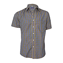 Yellow & Deep Blue Checked Short Sleeved Shirt