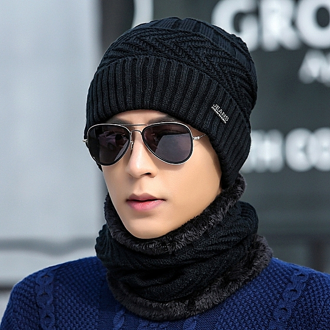846eb5ee6 1Black hat+round Bo two setsHat man winter knitting wool the hat thicken  Han Ban Chao knit fabric set the head hat add Rong to keep warm the hat  youth ...