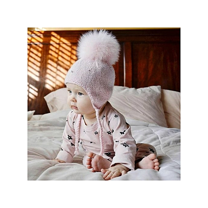 14416862f9f Eissely Baby Boy Girl Hair Ball Earbud Hat Child Print Knit Hat PKL ...