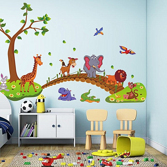 Allwin Kawaii Big Jungle Animals Bridge PVC Wall Stickers Kids ...
