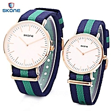 Couple Concise Nylon Band Wristwatch - Cadetblue/Green