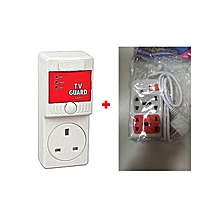 Voltage Protection TV Guard + FREE 4-Way Socket Extension Cable - White