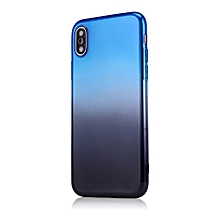 Dual-Color Gradient Shockproof Soft Phone Case Cover for iPhone X 7 8 Plus 6S-Blue + Black