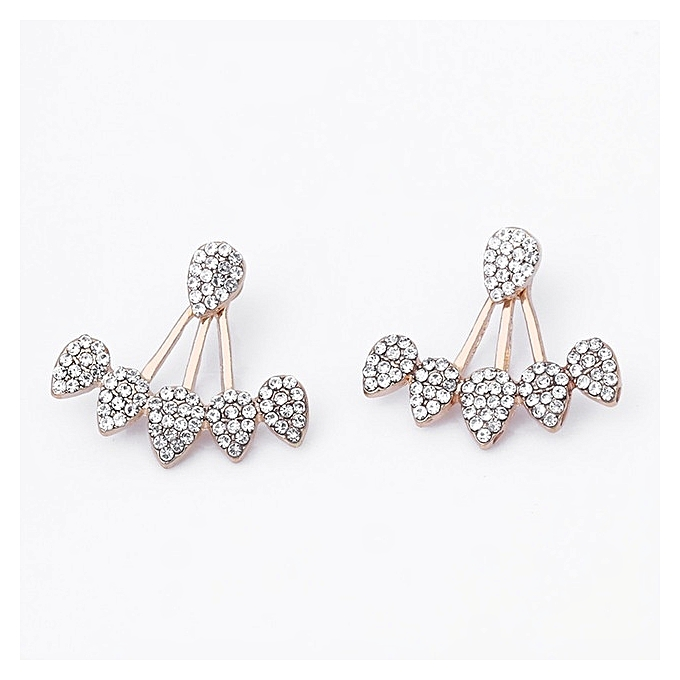 397845066cb8e 1Pair Jewelry New Crystal Front Back Double Sided Stud Earring For Women  Fashion Ear Cuff Piercing Earring Gift