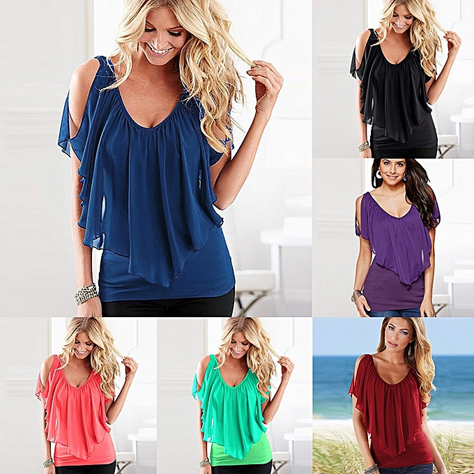 e72b0c01ab9ee Sexy Women Blouse V Neck Cold Shoulder Ruffles Sleeveless Solid T-Shirt  Vest Tank Summer