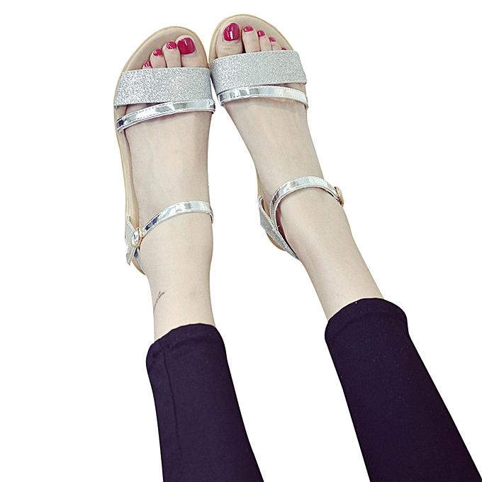 04d8cea897e9 Fashion Women Sequins Flat Heel Anti Skidding Beach Shoes Sandals Slipper