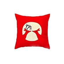 Happy Christmas Pillow Cases Linen Sofa Cartoon Cushion Cover Home Decor