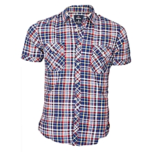 White,Blue,Yellow and Red Checked Slim Fit Casual Men's Shirt