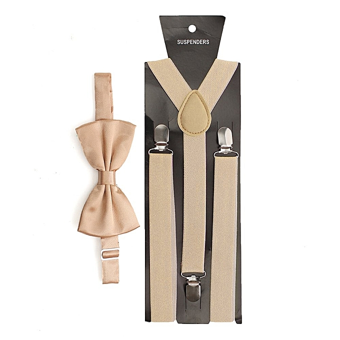 3cef2dcf1 Mens Womens Clip-on Suspenders Elastic Y-Shape Adjustable Braces And Bow  Tie Beige