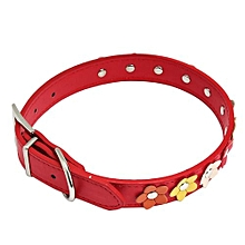 Sweet Flower Studded Puppy Pet Collar Leather Buckle Neck Strap Collars RD/L