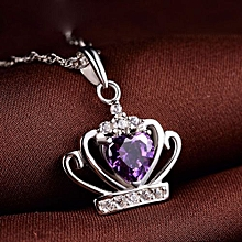 Sweet Crown Heart CZ 925 Sterling Silver Pendant Color Red