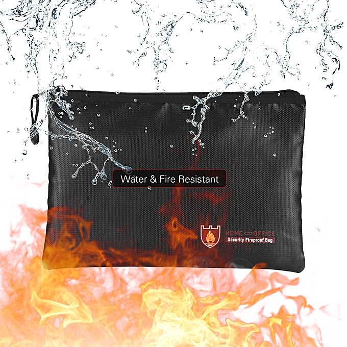 Fireproof Document Bag Silicone Coated Fiberglass Money Bag Pouch Document  Holder Water & Fire Resistant with Zipper Closure Storage for File Cash