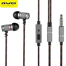 Olivaren AWEI ES-660I Metal 3.5mm Jack In-Ear Noise Isolating Mic Super Bass Earphone -Gray