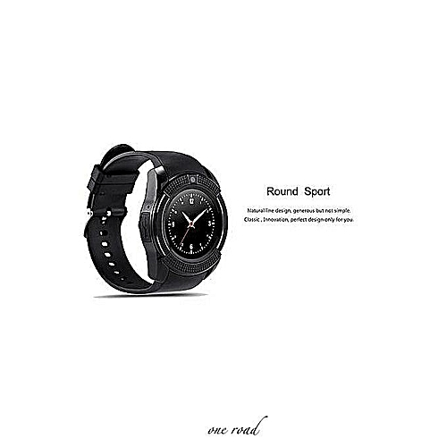V8 Touch Screen Smart Watch Telephone With Sim Card Slot - Black