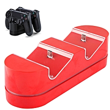 2 x USB Charging Dock Station Stand / Game Handle Controller Charging Seat with LED for PS4(Red)